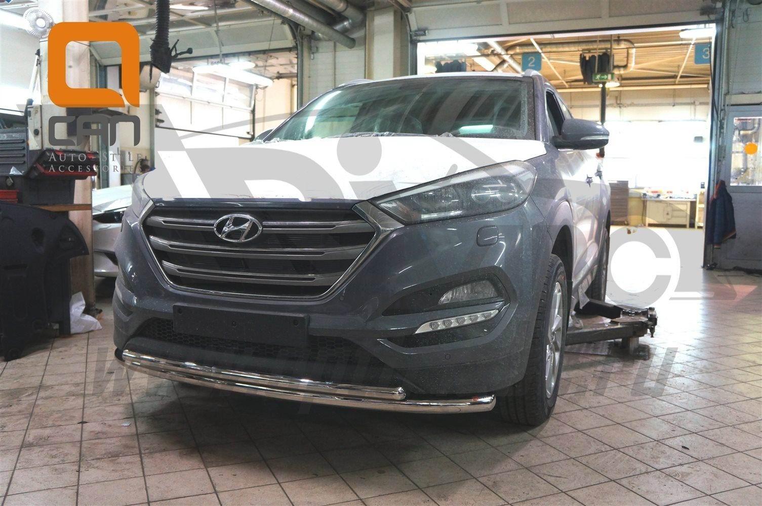 Can Otomotiv HYTU.33.1229 защита переднего бампера Hyundai Tucson (2015-) (двойная) d60/42