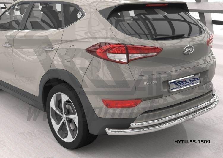 Can Otomotiv HYTU.55.1509 защита заднего бампера Hyundai Tucson (2015-) (двойная) d60/42 кроме High-tech*