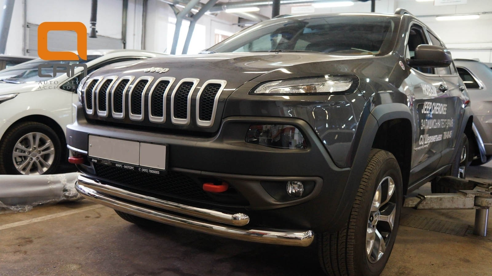 Can Otomotiv JECH.33.1306 защита переднего бампера Jeep Cherokee Тrailhawk (2014-) (двойная) d76/60