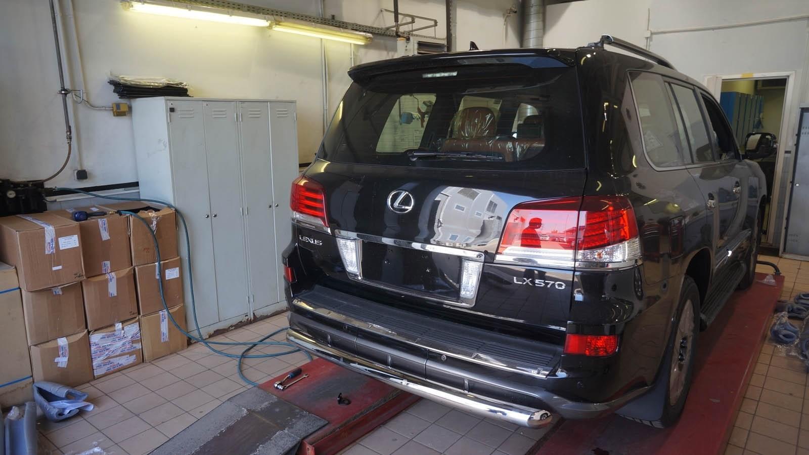 Can Otomotiv LE57.55.1574 защита заднего бампера Lexus LX570 Sport (2014-2015) (одинарная) d 76