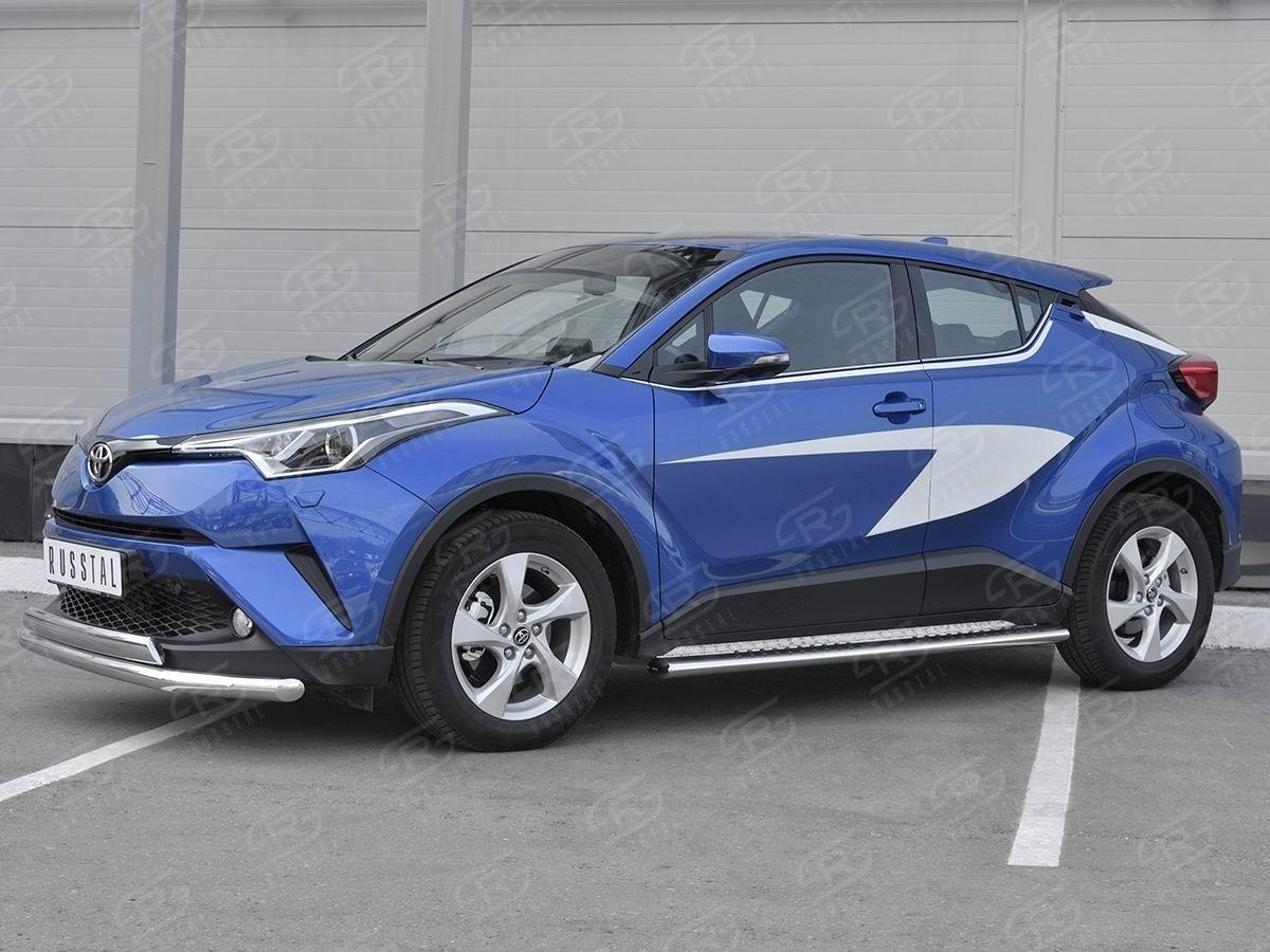 Руссталь TCHZ-003027 защита переднего бампера d63 секции-d75x42 дуга на Toyota C-HR 2018-