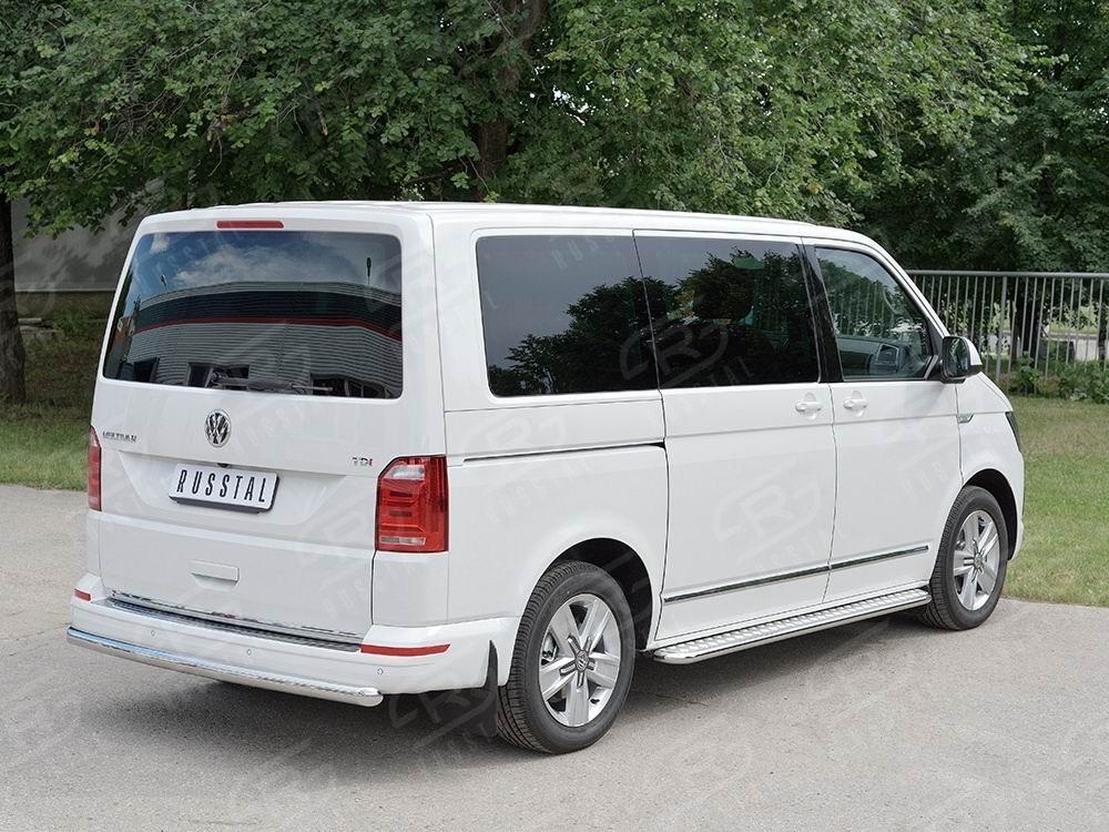 Руссталь VTCZ-002338 защита заднего бампера d63 дуга на Volkswagen Caravella Transporter T6 2016 (длинная База)