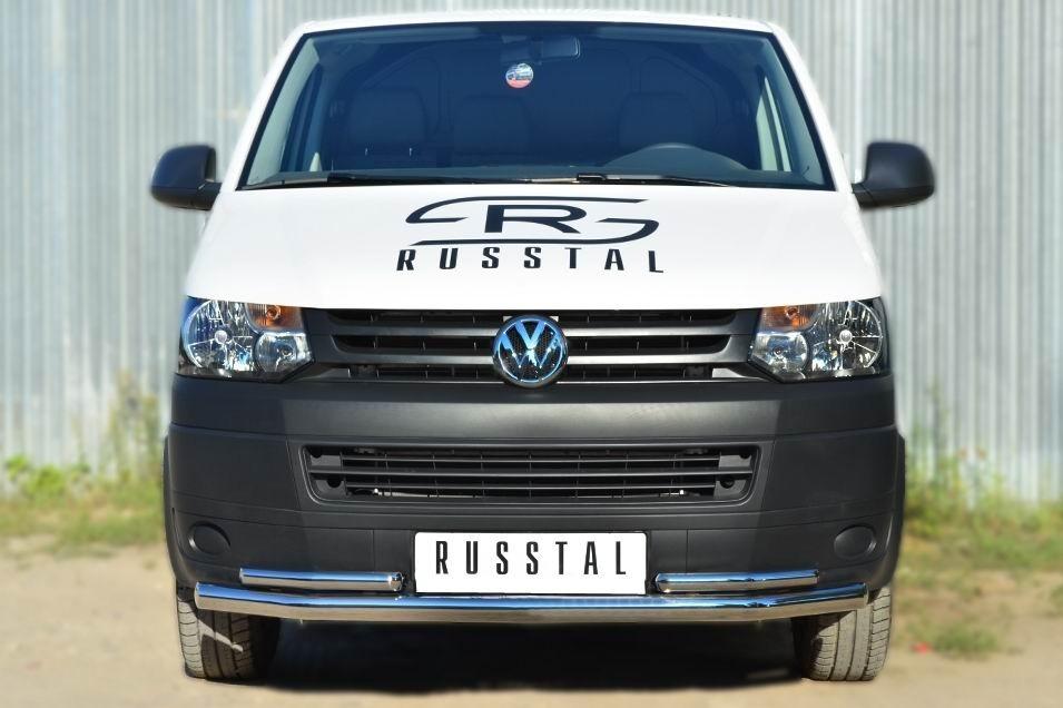 Руссталь VTKZ-001396 защита переднего бампера d63 (секции) d42 (уголки) на Volkswagen Multivan 2010-