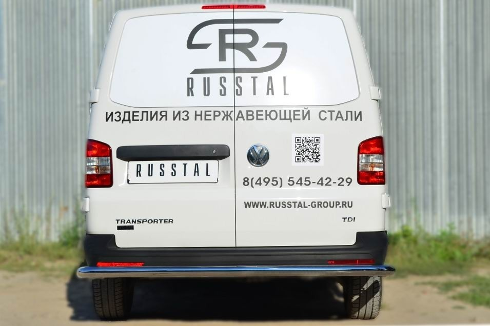 Руссталь VTKZ-001401 защита заднего бампера d63 (секции) на Volkswagen Multivan 2010-