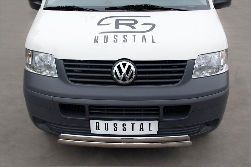 Руссталь VTRZ-000602 защита переднего бампера d75х42_d75х42 овалы на Volkswagen Transporter kasten 2003-2009