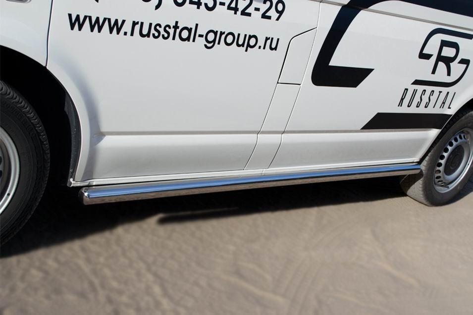 Руссталь VTRZ-0006043 пороги труба d63 (со скругленными торцами) (правый) на Volkswagen Transporter kasten 2003-2009
