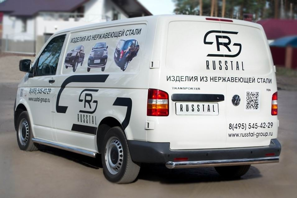 Руссталь VTRZ-000606 защита заднего бампера d63 на Volkswagen Transporter kasten 2003-2009