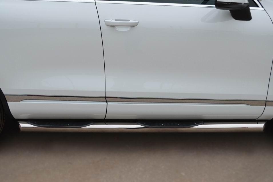 Руссталь VTT-0007021 пороги труба d76 с накладками (вариант 1) на Volkswagen Touareg 2010-2013
