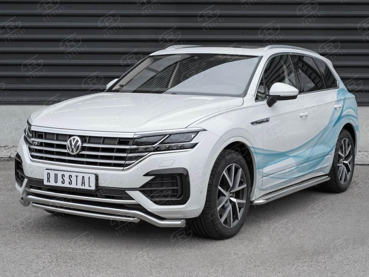 Руссталь VWTZ-003058 защита переднего бампера d63 волна-d42 дуга на Volkswagen Touareg 2018-
