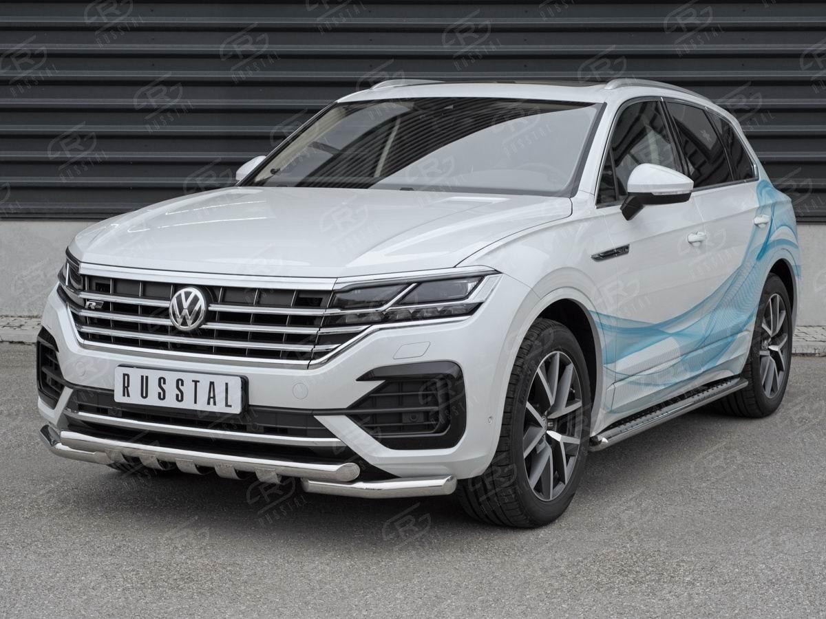 Руссталь VWTZ-003059 защита переднего бампера d63 дуга-d63 уголки+клыки на Volkswagen Touareg 2018-