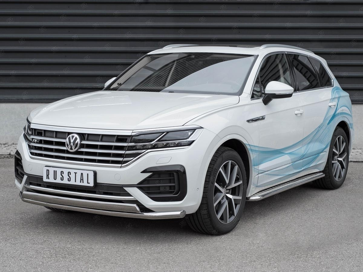 Руссталь VWTZ-003061 защита переднего бампера d63 секции-d75x42 дуга на Volkswagen Touareg 2018-