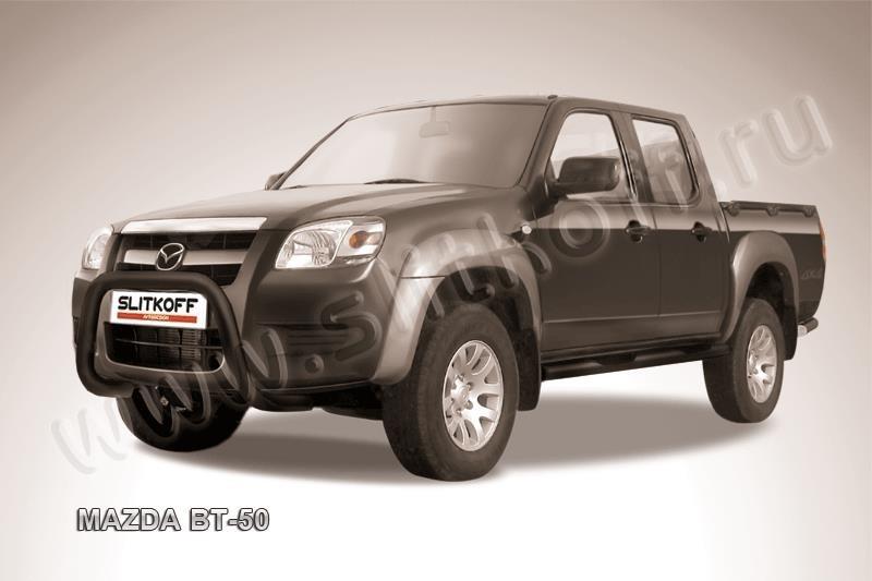 """Slitkoff MZB003B кенгурятник d76 низкий """"мини"""" черный Mazda BT-50"""