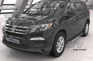 Can Otomotiv ACMD.48.2503 пороги алюминиевые (Brillant) Honda Pilot (2016-)(черн/нерж)