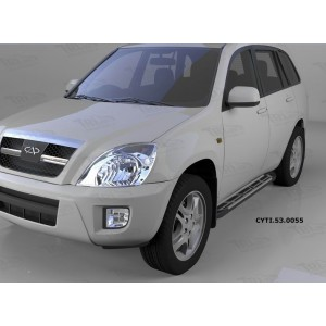 Can Otomotiv CYTI.53.0055 пороги алюминиевые (Corund Silver) Chery Tiggo (2006-)