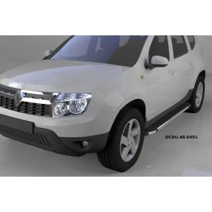 Can Otomotiv DCDU.48.0451 пороги алюминиевые (Brillant) Nissan Terrano (2014-) (черн/нерж)