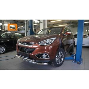 Can Otomotiv HYIX.33.1243 защита переднего бампера Hyundai ix35 (2009-2015) (двойная) d60/60