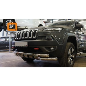 Can Otomotiv JECH.33.1305 защита переднего бампера Jeep Cherokee Тrailhawk (2014-) (Shark) d76/76