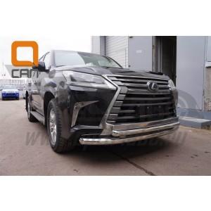 Can Otomotiv LE57.33.1574 защита переднего бампера Lexus LX570 (2015-) (двойная) d76/60