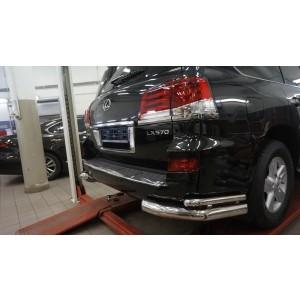 Can Otomotiv LE57.53.1573 защита заднего бампера Lexus LX570 Sport (2014-2015) (уголки) d76/42