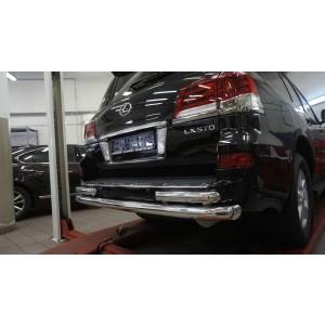 Can Otomotiv LE57.55.1576 защита заднего бампера Lexus LX570 (2014-2015 / 2015-) (двойная) d 76/60