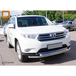Can Otomotiv TOHI.33.0035 защита переднего бампера Toyota Highlander (2010-2013) (двойная) d 60/60