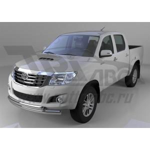 Can Otomotiv TOHI.33.1202 защита переднего бампера Toyota Hilux (2012-2015) двойная (овал /овал) d 75x42*