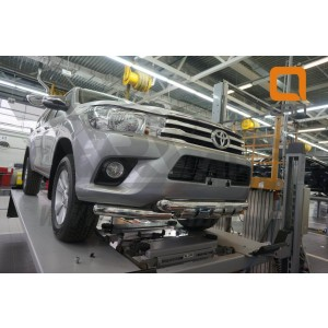 Can Otomotiv TOHI.33.3460 защита переднего бампера Toyota Hilux (2015-) (двойная Shark) d76/76