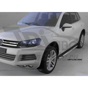 Can Otomotiv VWTU.48.3886 пороги алюминиевые (Brillant) Volkswagen Touareg (Туарег) (2004-) (черн/нерж)