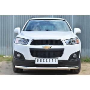 Руссталь CAPZ-001741 защита переднего бампера d63 (секции) на Chevrolet Captiva 2013-