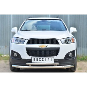 Руссталь CAPZ-001742 защита переднего бампера d63 (секции) d42 (дуга) декор-паз на Chevrolet Captiva 2013-