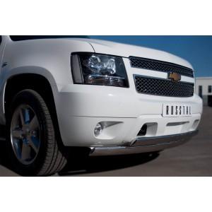 Руссталь CTHZ-000929 защита переднего бампера d75/42х75/42 овалы на Chevrolet Tahoe 2012-