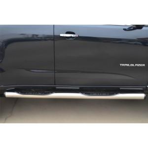 Руссталь CTRT-0015102 пороги труба d76 с накладкой (вариант 2) на Chevrolet Trailblazer 2012-