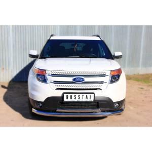 Руссталь FEZ-001310 защита переднего бампера d76 (секции) 75х42 овал (дуга) на Ford Explorer 2012-