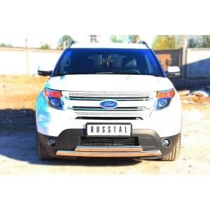 Руссталь FEZ-001311 защита переднего бампера d75х42/75х42 овал (дуга) на Ford Explorer 2012-