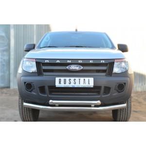 Руссталь FRZ-001297 защита переднего бампера d76 (секции) d63 (дуга) на Ford Ranger 2011-