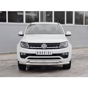 Руссталь VAMZ-002539 защита переднего бампера d76 секция-d63 дуга на Volkswagen Amarok 2016-