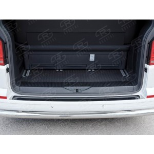 Руссталь VCTN-002324 накладка на задний бампер (лист нерж зеркальный) на Volkswagen Multivan Caravella Transporter Т6 2016 (короткая база)