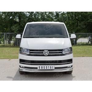 Руссталь VCTZ-002311 защита переднего бампера d63 секция на Volkswagen Multivan Caravella Transporter Т6 2016 (короткая база)
