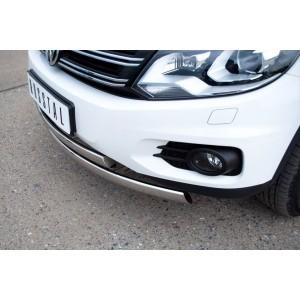 Руссталь VGZ-000492 защита переднего бампера d75х42/75х42 овалы на Volkswagen Tiguan Track & Field (Track & Style) 2011-