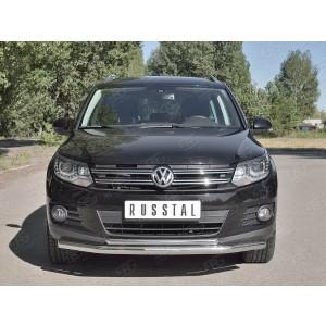 Руссталь VGZ-000982 защита переднего бампера d63/63 на Volkswagen Tiguan Sport & Style (Trend & Fun) 2011-