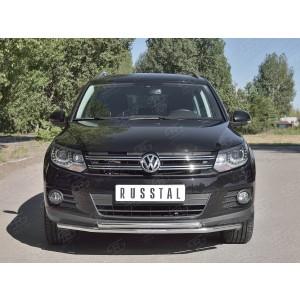Руссталь VGZ-000983 защита переднего бампера d76/63 (дуга) на Volkswagen Tiguan Sport & Style (Trend & Fun) 2011-