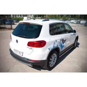 Руссталь VGZ-000989 защита заднего бампера d75х42 овал на Volkswagen Tiguan Sport & Style (Trend & Fun) 2011-
