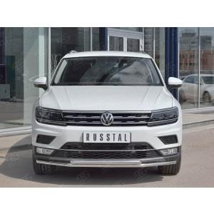Руссталь VGZ-002712 защита переднего бампера d42 секции-d42 дуга на Volkswagen Tiguan 2017- (кроме Off Road)