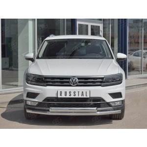Руссталь VGZ-002715 защита переднего бампера d63 секции-d75х42 дуга на Volkswagen Tiguan 2017- (кроме Off Road)