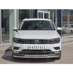 Руссталь VGZ-002716 защита переднего бампера d63 секции-d42 дуга на Volkswagen Tiguan 2017- (кроме Off Road)