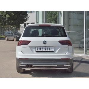 Руссталь VGZ-002722 защита заднего бампера d42/d42/d42 уголки на Volkswagen Tiguan 2017- (кроме Off Road)