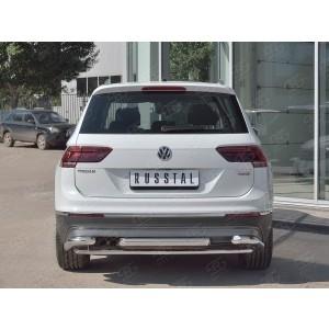 Руссталь VGZ-002723 защита заднего бампера d63/d42/d63 уголки на Volkswagen Tiguan 2017- (кроме Off Road)