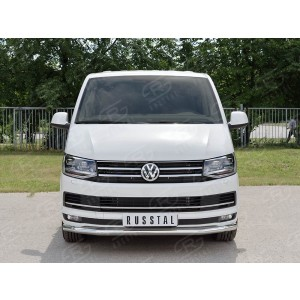 Руссталь VTCZ-002331 защита переднего бампера d63 секция на Volkswagen Caravella Transporter T6 2016 (длинная База)