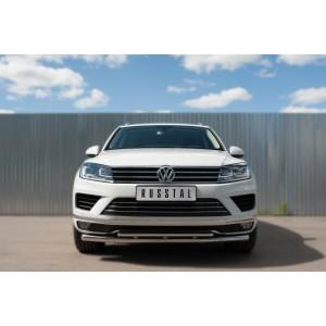 Руссталь VWTZ-002124 защита переднего бампера d63 (секции) d42 (дуга) на Volkswagen Touareg 2014-