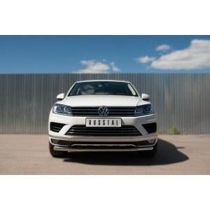 Руссталь VWTZ-002125 защита переднего бампера d63 (секции) на Volkswagen Touareg 2014-